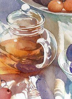 Still life, still-life, tea, sunny, glass, beautiful, art, painting, colourful, tissue