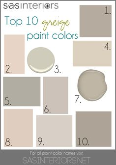 Top 10 Greige Paint Colors for Walls. 1. Sherwin Williams Mega Greige 2. Valspar Woodrow Wilson Putty 3. Benjamin Moore Hazy Skies 4. Sherwin Williams Canvas Tan 5. Behr Granite Boulder 6. Glidden Martha Stewart Sharkey Gray 7. Benjamin Moore Gallery Buff (that's my color!) 8. Valspar Bay Sands 9. Behr Mineral 10. Sherwin Williams Perfect Greige