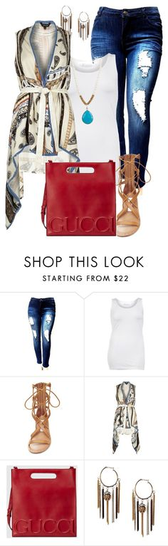 """plus size boho chic"" by kristie-payne ❤ liked on Polyvore featuring ZJ Denim Identity, Steve Madden, River Island and Gucci"
