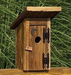 Amish Rustic Outhouse Garden Bird House Outdoor Accents Collection What's the point in decorating if you can't have a little fun with it? Made with a smile by an expert Amish woodworker - Garden and Home Decorative Bird Houses, Bird Houses Diy, Building Bird Houses, House Building, Building Plans, Birdhouse Designs, Birdhouse Ideas, Birdhouse Post, Birdhouse Craft