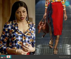 Cookie's blue printed shirt and red feather trim skirt on Empire Cool Street Fashion, Street Style, Taraji P Henson, Red Feather, Queen Fashion, Empire Style, Movie Costumes, Fashion Forward, Cookie Lyon
