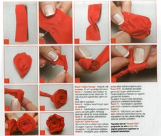 ru / Photo # 133 - MK examples of embroidered roses and ribbons. Embroidered Roses, Silk Ribbon Embroidery, Embroidery Stitches, Hand Embroidery, Diy Ribbon Flowers, Ribbon Work, Crafts, Free Time, Ribbons