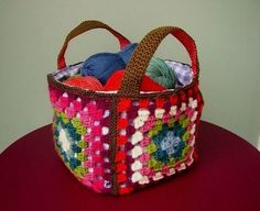 granny square basket.