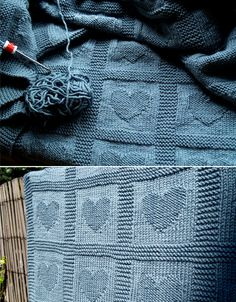 Heart Baby Blanket Free Knitting Pattern This easy to knit blanket will be a great gift for baby showers or newborns. You can knit columns of hearts or close each heart in a garter box. Easy Knit Baby Blanket, Free Baby Blanket Patterns, Blanket Yarn, Knitted Baby Blankets, Baby Knitting Patterns, Baby Patterns, Free Knitting, Crochet Heart Blanket, Cable Knitting