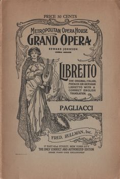 "Metropolitan Opera House ""Pagliacci"" circa 1900's"