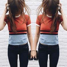 Fashion Striped Short Sleeve Shirt Top Tee