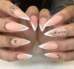 White and nude stiletto nails