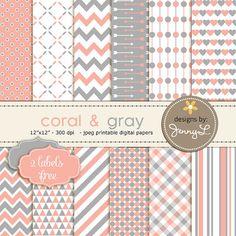 Coral Gray Digital Papers Salmon Digital by JennyLDesignsShop