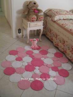 tapete de bolas redondo rosa