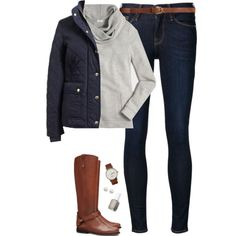 Navy quilted coat, sweatshirt & boots by steffiestaffie on Polyvore featuring J.Crew, Frame, Tory Burch, Triwa, Majorica, H&M and Essie