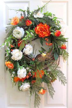 Beautiful Bird SPRING SILK WREATH, Handmade Wreath, Rustic Wreath, Silk Flower Arrangement, Grapevine Wreath, Door Décor, Wall Decoration