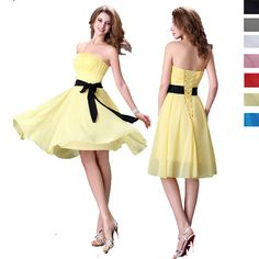 ONLY $25!! Short Chiffon Evening Gown Dress Formal Party Prom Bridesmaid Dresses #BallGownMiniStrapless50sRockabilly #CocktailClubwearHomecomingGraduation