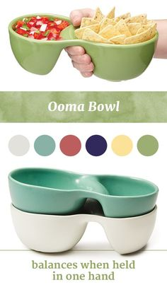 A perfect bowl to keep food separate, so you can enjoy your chips and salsa or rice and curry without any unintentional mixing. Plus, it balances when held in one hand, and keeps your wrist in a comfo Cool Kitchen Gadgets, Home Gadgets, Cooking Gadgets, Gadgets And Gizmos, Geek Gadgets, Cooking Tools, Kitchen Hacks, Cool Kitchens, Mobile Gadgets