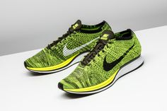 ff07db0d1dc The intricate blend of Volt and Sequoia on this 2016 Nike Flyknit Racer  instantly turns heads