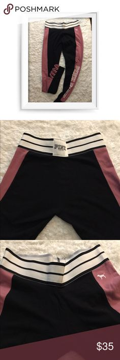 """Pink by Victoria Secret Leggings Leggings by Pink in excellent condition. They have been gently worn and washed per instructions. They are mostly Black with the sides in a Dusty Rose Inseam 27"""" Waist to Bottom 34 1/2"""" Waist 26"""" PINK Victoria's Secret Pants Leggings"""