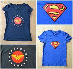 Tee shirt superman et wonderwoman home made Diy Birthday Shirt, Iron Man Birthday, Superhero Birthday Party, Birthday Parties, Logo Batman, Diy Shirt, Tee Shirts, Superman, Organiser