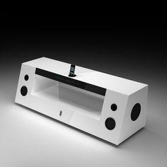 Houston Audio High Gloss TV Stand In White