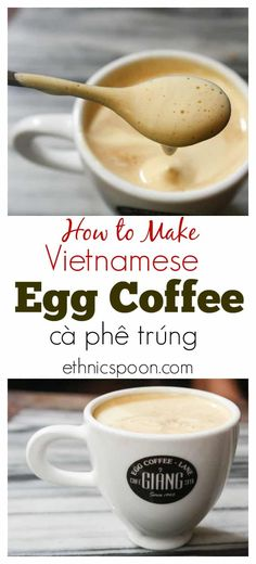 Coffee lovers you need to try this! I know it sounds strange but imagine your latte made with a strong espresso and 1 egg yolk beaten with sweetened condensed milk to a light fluffy crema like topping sitting on top. This is Vietnamese egg coffee or cà ph Non Alcoholic Drinks, Cocktails, Beverages, Egg Coffee, Milk And Eggs, Vietnamese Recipes, Vietnamese Coffee Recipe, Vietnamese Food, Great Coffee