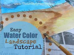 Art Lesson: Easy Watercolor Landscape Tutorial for kids-The Unlikely Homeschool