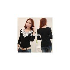 2015 Women's Autumn Spring Casual Shirt Lace Tops Cute Elegant Long... (36 HKD) via Polyvore
