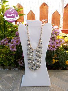 Collar cruzado de perlas con cadena dorada  - #Pearls #Necklace #Bisutería