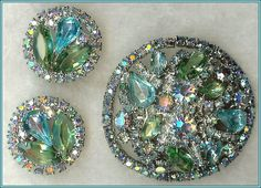 """""""Book Piece"""" Weiss Shades of Blue and Green Rhinestone Demi Brooch from encore on Ruby Lane"""
