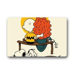 "Gala Charlie Brown And The Little Red Haired Girl Custom Indoor/Outdoor Doormat Door Mat Decor Rug Non Slip Mats 23.6""(L) X 15.7""(W) - Brought to you by Avarsha.com"