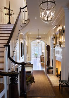 The foyer, entry hall or entrance hall of this beautiful new country house in th. The foyer, entry hall or entrance hall of this beautiful new country house in the Hudson River Vall Home, Enchanted Home, House Styles, Cozy House, Remodel, New Homes, House, Interior Design, Entry Hall