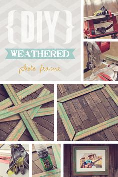 DIY weathered photo frame. LOVE that old aged wood!