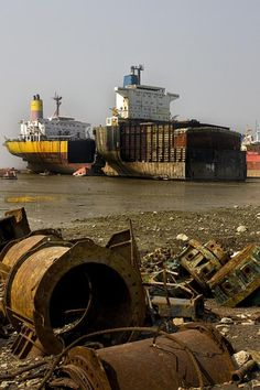 Discover Chittagong Ship-breaking Yards in Bhatiari, Bangladesh: Where giant ships go to die. Abandoned Ships, Abandoned Places, Ship Breaking, Shipwreck, World Best Photos, Countries Of The World, Cruise, Landscape, Travel