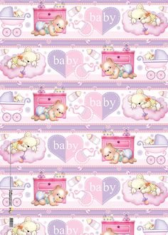 Papel de regalo baby ositos niña Scrapbook Bebe, Baby Scrapbook Pages, Scrapbook Paper, Hello Kitty Coloring, Baby Girl Patterns, Vintage Wrapping Paper, Baby Journal, Baby Clip Art, Bear Wallpaper