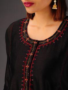 Black Hand Embroidered Chanderi Kalidar Kurta with Lining Set of 2