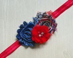 Patriotic Flower Headband by JadyBugBows on Etsy, $7.99