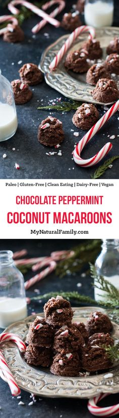 Chocolate Peppermint Coconut Macaroons Recipe {Paleo, Gluten Free, Clean Eating, Dairy Free, Vegan} - these only have 7 ingredients and are raw, so you can whip them in no time!