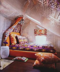 richly colorful textiles, #bedroom