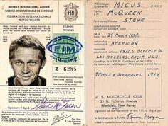 Steve McQueen's International Motorcycle License