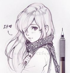 anime sketch So many occassions that I just had to make another post Thank you so much for all birthday wishes, yes, I turned 28 today Thank you Anime Drawings Sketches, Anime Sketch, Manga Drawing, Manga Art, Cute Drawings, Scarf Drawing, Drawing Girls, Pen Sketch, Girl Sketch
