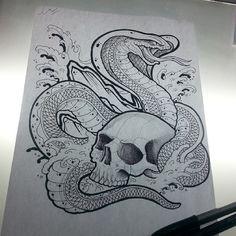 king cobra skull tattoo sketch draw
