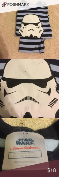 Hannah Andersson Organic StarWars PJs 110cm Hanna Andersson Organic StarWars  Storm Trooper PJs in light plié and Navy Stripe. Overall PJs are in Excellent Condition. There's some minor cracking on the Stormtrooper noted in photos. 110cm Hanna Andersson Pajamas Pajama Sets