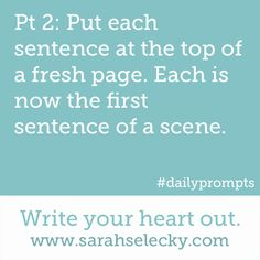 Two-part writing prompt, part 2