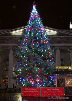 A brilliant, glowing Christmas tree sits in the middle of O'Connell Street. - It stands in all its luminous glory between Clerys shop and the GPO, the site of the 1916 Easter Rising in Dublin.