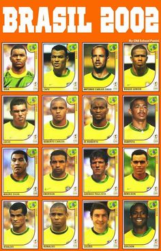 Brazil team stickers for the 2002 World Cup Finals. Brazil Football Team, Football Icon, Best Football Players, World Football, Football Kits, Soccer Players, Football Soccer, Brazil Team, Brazil Brazil
