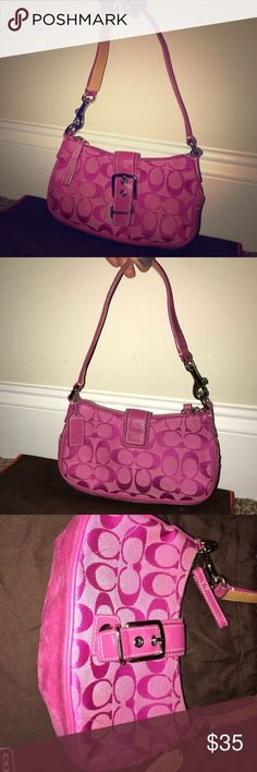 COACH Mini hobo with leather buckle This is an authentic Coach Handbag that is used. Bottom of the bag is dirty, see picture. Dust bag included. Coach Bags