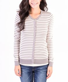 Another great find on #zulily! Gray Stripe Crewneck Cardigan by DownEast Basics #zulilyfinds
