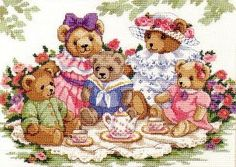 These Teddy Bears have a perfect day for a picnic! Bear lovers everywhere will delight in these Victorian clad bruins designed by Dawna Barton. Cross Stitch Kits, Cross Stitch Patterns, Princess Tea Party, Gifs, Christmas Stockings, Christmas Ornaments, Crochet Bear, Christmas Printables, Projects To Try