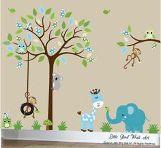 Turquiose Kinder Wandtattoo Abmessungen: Baum 60 x 80 Breite hohe Tree Branch 30 x 20 Breite hohe Elefant 28 x 20 Breite hohe Giraffe 18 Breite x 28 hohe Löwe 22 x 18 Breite hohe * Wenn angewendet wie gezeigt Dieses Set beinhaltet: 1 Baum mit gemusterten Blättern