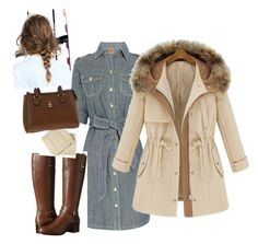"""""""jean dress"""" by vay-brown on Polyvore featuring Tory Burch and Bandolino"""