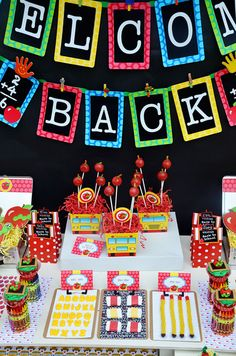 Gorgeous back to school dessert table! #backtoschool #party #desserttable