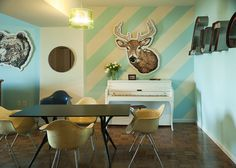 Different paints and fixtures also add depth to a single wall.
