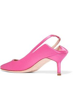 Heel measures approximately 60mm/ 2.5 inches Bright-pink satin Elasticated slingback strap Made in ItalySmall to size. See Size & Fit notes